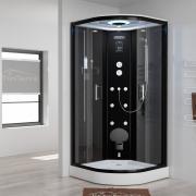 Tronitechnik EASY Dampfdusche Schwarz 90x90 cm mit Sitz und Massagefunktion Klarglas