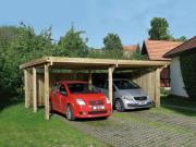 Weka FD-Doppelcarport Garage 618 Gr.1, 603x512 cm mit Trapezblech