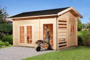 Weka Gartenhaus 150, naturbelassen mit Holzlager und Geräteraum 450 x 300 cm