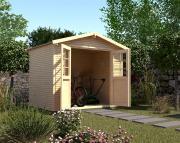 Weka Gartenhaus 218 Gr.2 naturbelassen 28 mm Blockbohlenstärke mit wekaLine-Profil Satteldach 300x209 cm