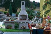 Wellfire Gartengrillkamin NOVA Braun mit Beistelltisch 205 x 110 x 73 mm