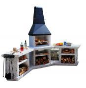 Wellfire Grill-Außenküche TOSKANA Quatro 4 in 1 Grau-Weiß Stahlhaube 216 x 188 x 73 cm 90° Winkel