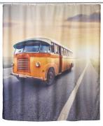 WENKO Anti-Schimmel Duschvorhang Vintage Bus, 180 x 200 cm, waschbar