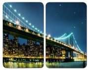 WENKO Herdabdeckplatte Universal Brooklyn Bridge, 2er Set, für alle Herdarten