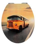 WENKO WC-Sitz Toilettensitz Toilettendeckel Vintage Bus, Duroplast, Absenkautomatik