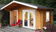 Wolff Finnhaus Holz Gartenhaus 58 mm Caro 58-C Modern Naturbelassen 480 x 380 cm