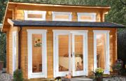 Wolff Finnhaus Holz Gartenhaus 58 mm mit Stufendach Langeoog 58-B Naturbelassen 440 x 320 cm