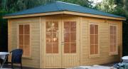 Wolff Finnhaus Holz Gartenhaus 5-Eck 40 mm Anna 40-A/1 Naturbelassen mit grünen Rechteck-Dachschindeln 453 x 299 cm