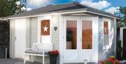 Wolff Finnhaus Holz Gartenhaus 5-Eck 40 mm Anna 40-A/2 Naturbelassen mit grünen Rechteck-Dachschindeln 453 x 299 cm