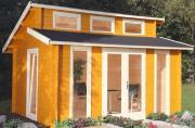 Wolff Finnhaus Holz Gartenhaus mit Stufendach Langeoog 58-C Naturbelassen 480 x 390 cm