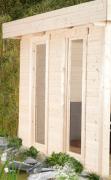 Wolff Finnhaus Holz Gartenhaus Varianta Seitenwand mit Panoramafenster Naturbelassen 250 x 250 cm