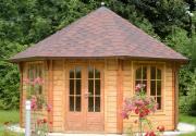 Wolff Finnhaus Holz Gartenpavillon de luxe Palermo 4.5 grün-schwarz 453,9 x 453,9 cm