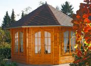 Wolff Finnhaus Holz Gartenpavillon de luxe Roma 4.0 schwarz 399,8 x 399,8 cm
