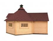 Wolff Finnhaus Holz Grillkota 9 de luxe mit Anbau Dachschindeln rot (376 x 520 cm)