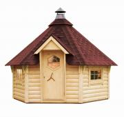 Wolff Finnhaus Holz Grillkota 9 de luxe mit Lapplandpaket und 5 Rentierfelle Dachschindeln rot (375,5 x 325,5 cm)