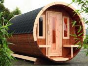 Wolff Finnhaus Holz Haus Campingfass 330 1-Raum Bausatz schwarz Ø235 x 330 cm