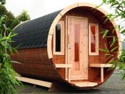 Wolff Finnhaus Holz Haus Campingfass 330 1-Raum montiert schwarz Ø235 x 330 cm