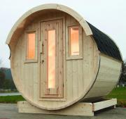 Wolff Finnhaus Holz Haus Campingfass 330 2-Raum montiert schwarz Ø235 x 330 cm