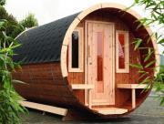 Wolff Finnhaus Holz Haus Campingfass 480 2-Raum montiert schwarz Ø235 x 480 cm