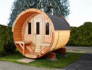 Wolff Finnhaus Holz Saunafass 250 naturbelassen montiert Dachschindeln schwarz (Ø205 x 250 cm)