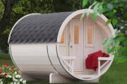 Wolff Finnhaus Holz Saunafass 280 montiert Dachschindeln rot (Ø205 x 280 cm)