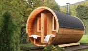 Wolff Finnhaus Holz Saunafass 400 de luxe Thermoholz montiert Dachschindeln schwarz (Ø235 x 400 cm)