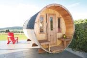 Wolff Finnhaus Holz Saunafass 400 montiert Dachschindeln schwarz (Ø205 x 400 cm)
