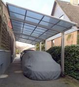 Ximax Design-Carport Linea Kombination Typ 80 Tandem Edelstahl-Look L 9,83 m x B 2,73 m