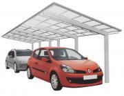 Ximax Design-Carport Linea Kombination Typ 110 Tandem Edelstahl-Look L 9,83 m x B 2,73 m