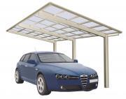 Ximax Design-Carport Linea Typ 110 Edelstahl-Look aus Aluminium L 4,95 m x B 2,43 m