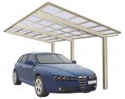 Ximax Design-Carport Linea Typ 110 Standard Edelstahl-Look Aluminium L 4,95 m x B 2,73 m