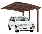 Ximax Design-Carport Portoforte Typ 110 Standard Mattbraun aus Aluminium L 4,95 m x B 2,70 m
