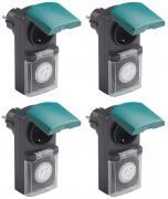 Zeitschaltuhr, mechanisch IP44, 16 A für Außen grün-schwarz 4er Set